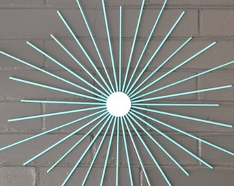 "Choose Your Size! 24"" Solid Steel Retro Eames Era Starburst Sunburst Modern Metal Wall Art Mirror Sculpture Atomic Interior Home Staging"