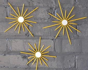 Choose Color Tiny Trio Starburst Sunburst Yellow Gloss Interior Design Bedroom Kids Bar Home Decor Mirror Wall Art Artwork Mid-Century Retro