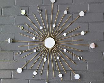 "26"" Gold Metallic Custom Sizes Available Hand-Welded Steel Starburst Sunburst Modern Metal Wall Art Mirror Sculpture Atomic Home Style House"