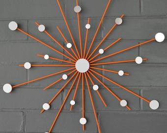 "18"" Sunburst Starburst Office Art Hand Welded Style Handmade New Home Decor Design Steel Retro Modern Interior Metal Mirror Wall Artwork"