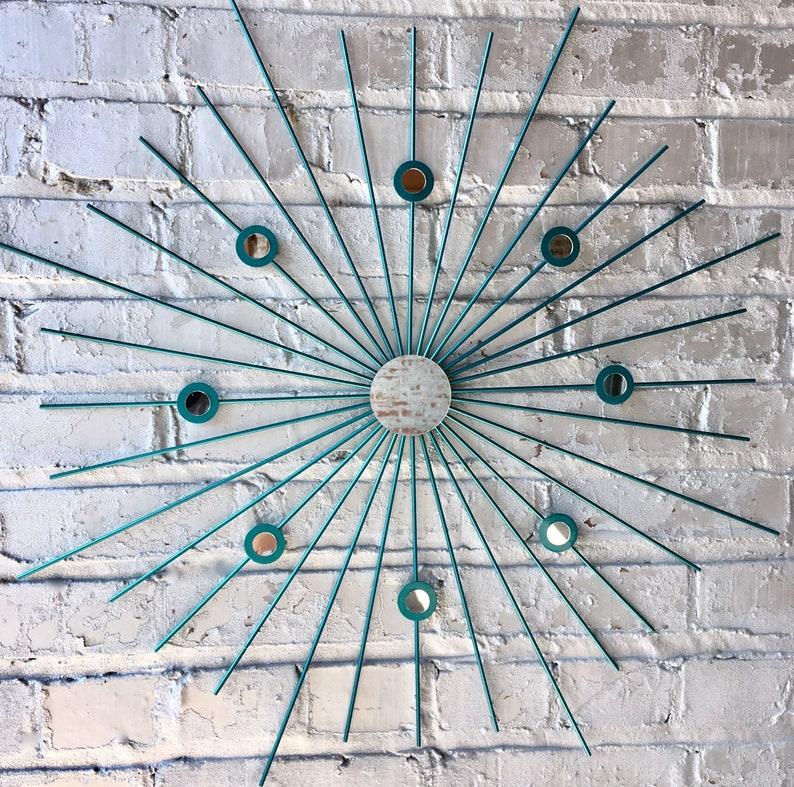 Metallic Starburst Sunburst Retro Modern Metal Wall Art Mirror image 0