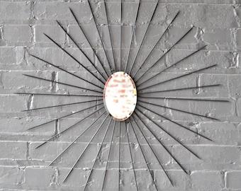 Oval Starburst Sunburst Wall Art Oval Mirror Metal Single Center Modern Mid Century Retro Mod Gift Artwork Hand Welded Steel Handmade Custom