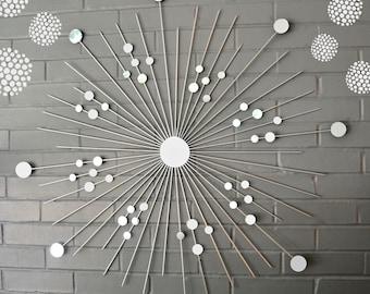 Silver Metallic 36 Inch Handmade Beautiful Gift Starburst Modern Metal Wall Art Mirrors Retro Style Decoration Sunburst Home House Staging