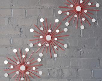 "11.5"" Trio Steel Metal Starbursts Choose Your Color Sunburst Wall Art Artwork Design Sculpture Home Decor House Modern Retro Handmade"