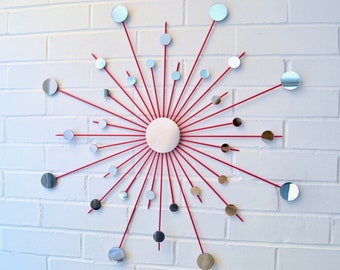 30 Inch 3 Inch Center Mirror Steel Starburst Sunburst Pink Metal Wall Art Mirror Mod Modern Star Retro Home Decor Choose Your Color Size