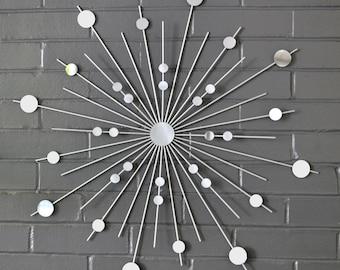 "26"" Starburst Sunburst Retro Mid Century Modern Metal Wall Art Mirror Handmade Steel Silver Sculpture Interior Home Decor Style Design New"