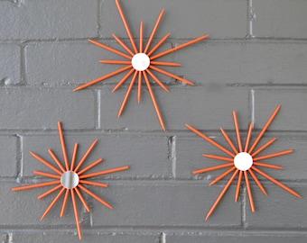 Choose Color Tiny Trio Starburst Sunburst Orange Gloss Interior Design Bedroom Kids Bar Home Decor Mirror Wall Art Artwork Mid-Century Retro