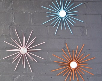 Any Color Combination! Custom Steel Metal Starbursts Sunburst Wall Art Artwork Design Sculpture Home Decor House Modern Retro MCM Handmade