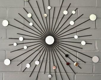 24 Inch Interior Starburst Modern Metal Wall Art Mirrors Mod Retro Atomic Style Contemporary Sunburst Decoration Design MCM Shown in Black