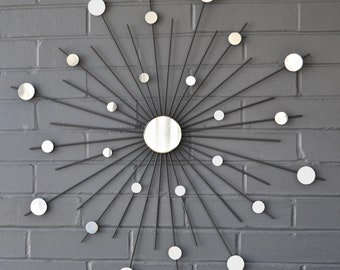 "26"" Custom Sizes Available Hand-Welded Steel Starburst Sunburst Modern Metal Wall Art Mirror Sculpture Atomic Home Style Gray House Staging"