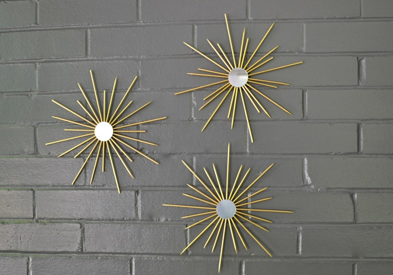 Steel Metal Starbursts Gold Metallic Sunburst Wall Art Artwork image 0