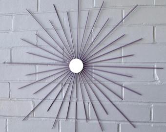 Handmade Steel Modern Starburst 26 Inch Choose Color Sunburst Wall Art Metal with Center Mirror Mid Century Retro Mod Atomic Gift Artwork