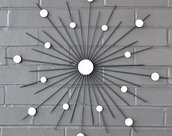 "22"" Handmade Starburst Sculpture Sunburst Home Decor Design Hand Welded Steel Retro MidCentury Interior Metal Mirror Wall Art Exterior"