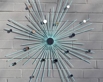 """26"""" Hand Welded Steel Starburst Sunburst Unique Gift Art Artwork Modern Metal Wall Art Mirror Sculpture Home Interior Style House Staging"""