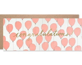 Congratulations Balloons with Gold Glitter Foil