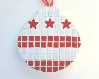 Fused Glass Ornament or Suncatcher DC Flag /& Map