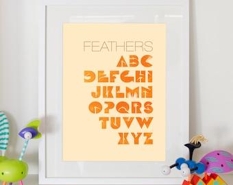 "Alphabet Print Feathers - Home Decor Nursery Birds ABC Poster 8x10"""