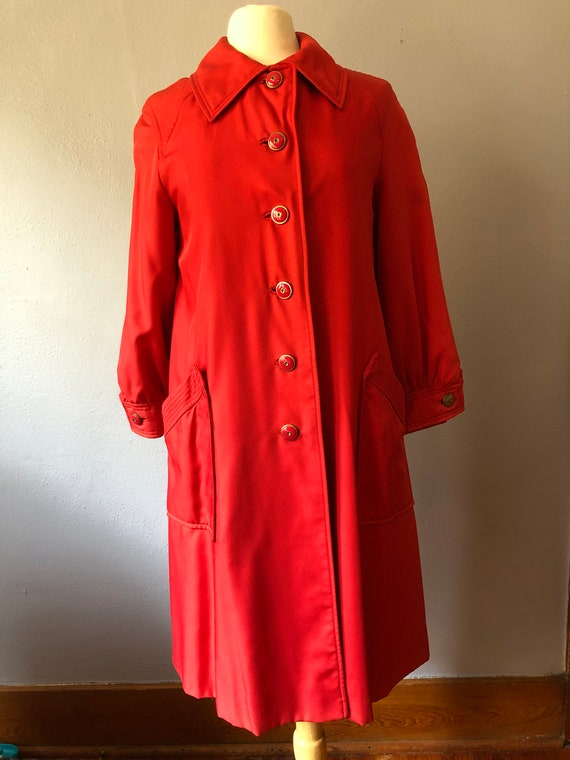 Poppy red vintage trench coat