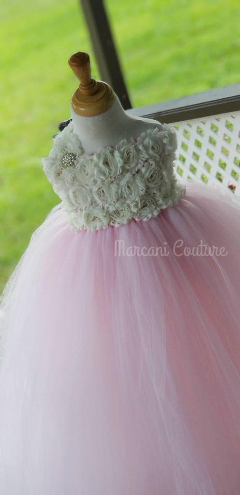 Flower Girl Dress,Tutu Flower Girl Dress,Vintage Tutu Dress,Vintage Flower Girl Dress,Tulle,Tutu Dress Ivory Blush Flower Girl Dress