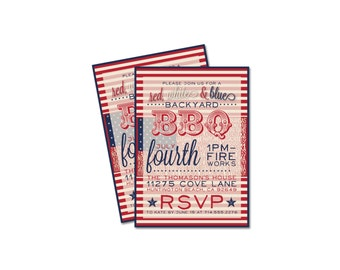 CUSTOM 4th Of July Party Invitation- Backyard BBQ
