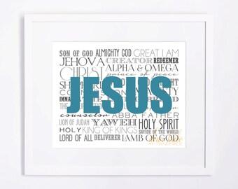 INSTANT DOWNLOAD 8x10 Names of Jesus Printable Art, Inspirational Art, Minimalist Kids Wall Art, Modern Art