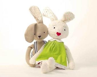 Bunny Pattern PDF: Rabbit Doll Sewing pattern Hanna & Henry Plush Toy