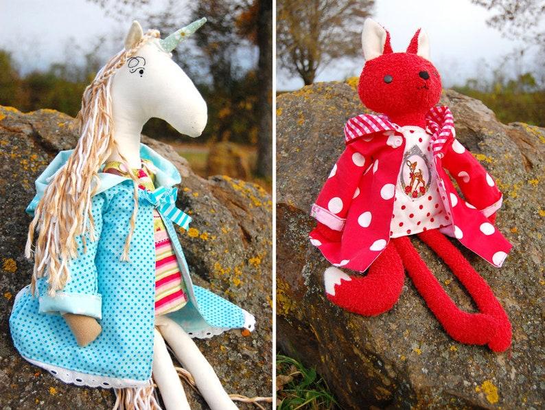 Coat /& apron Dress for fabric animals Instructions