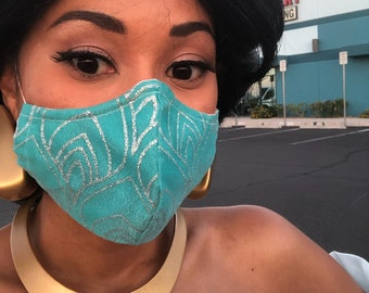 Jasmine Inspired- Fabric Face Mask with nose wire- 2 layer breathable- 3 layer filter pocket options Aladdin