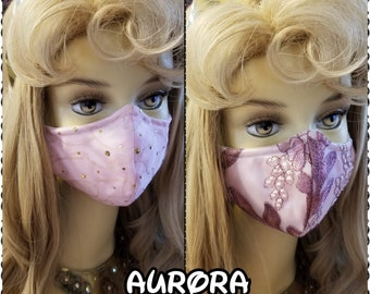 Sleeping Beauty Inspired- Fabric Face Mask with nose wire- 2 layer breathable- 3 layer filter pocket options Aurora
