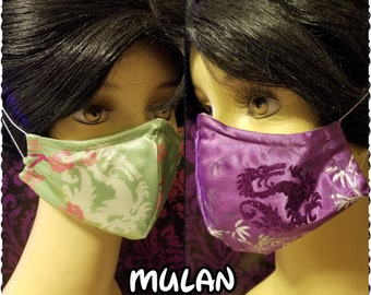 Mulan Inspired- Fabric Face Mask with nose wire- 2 layer breathable- 3 layer filter pocket options