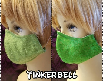 Tinkerbell Inspired- Fabric Face Mask with nose wire- 2 layer breathable- 3 layer filter pocket options Peter Pan