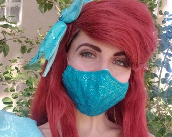 Little Mermaid Inspired- Fabric Face Mask with nose wire- 2 layer breathable- 3 layer filter pocket options Ariel