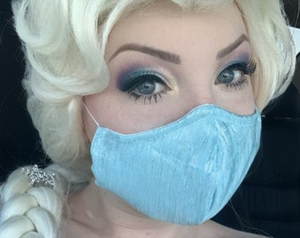 Elsa Frozen 1 Inspired- Fabric Face Mask with nose wire- 2 layer breathable- 3 layer filter pocket options