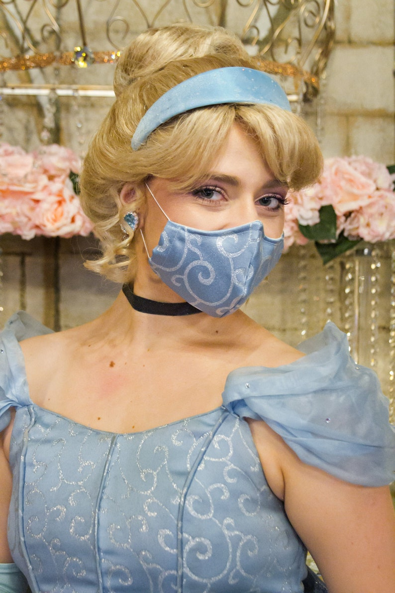 Cinderella Inspired Fabric Face Mask with nose wire 2 layer image 0