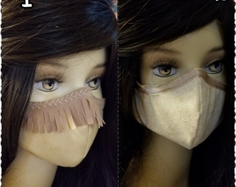 Pocahontas Inspired- Fabric Face Mask with nose wire- 2 layer breathable- 3 layer filter pocket options