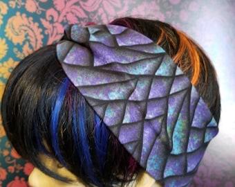 Faux knot head wrap- adult sized- Purple Dragon Scales