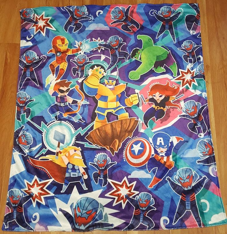 Super Soft Minky Toddler blanket Avenging Super Heroes image 0