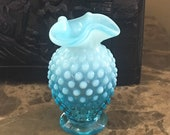 Fenton Vase Blue Opalesescent Hobnail Vase 3.5 inches