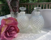 Fenton Cologne Bottles, with Stoppers, French Opalescent Perfume Bottles, Hobnail Perfume Bottles, Vintage Perfume Bottles 5 inches