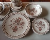Johnson Bros. Jamestown, Old Granite, Brown Transferware 18 piece set 6 Dinner plates 6 Cereal Bowls 6 Bread and Butter Plates