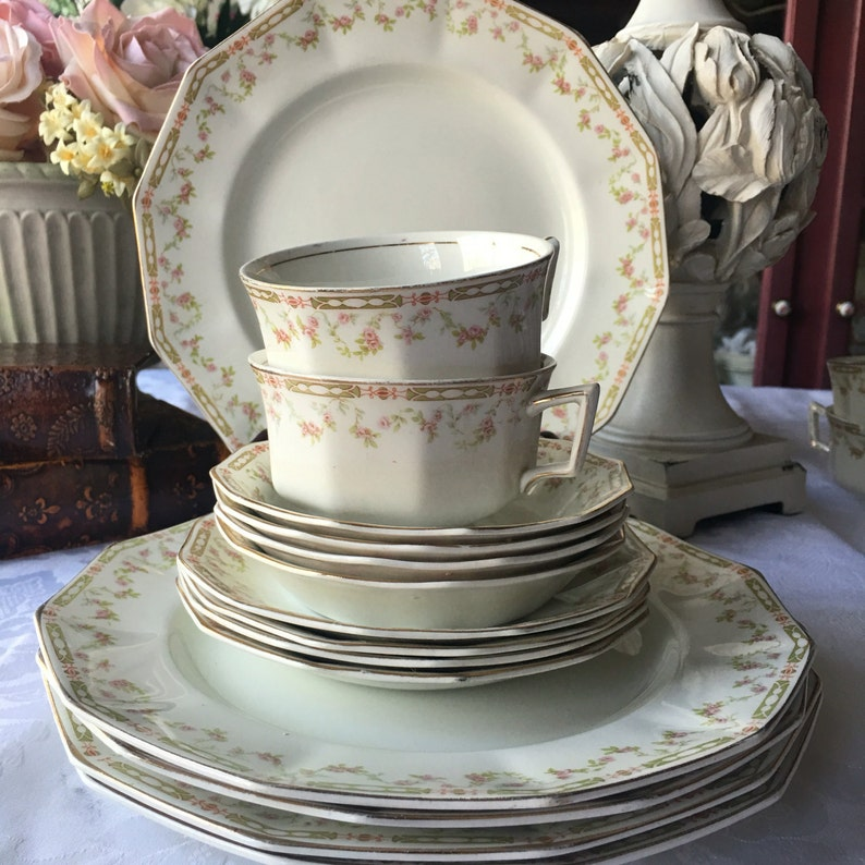 Antike Johnson Bros Geschirr Set 15 Stück Shabby Chic Cottage Etsy