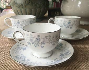 Three Wedgwood Belle Fleur Tea up and Saucer Sets made in England