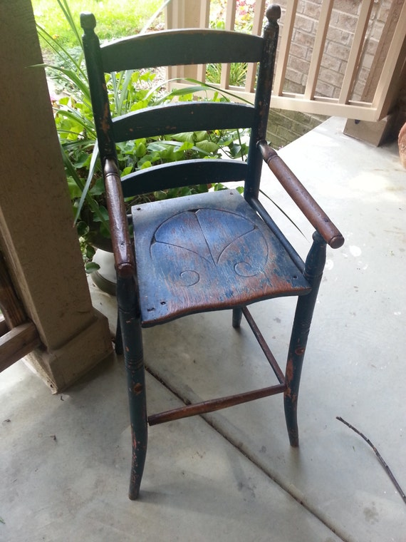 image 0 - Rare Primitive Antique Child's Youth Chair HighChair Etsy