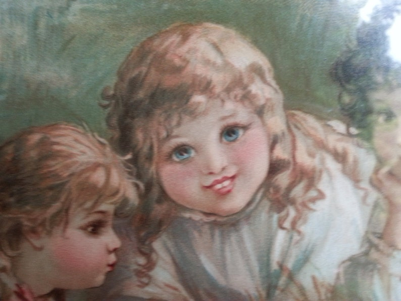Victorian Chromolithograpph Frances Brundage Antique Will and Frances Brundage Lithograph Children and Baby Chicks At Mischief