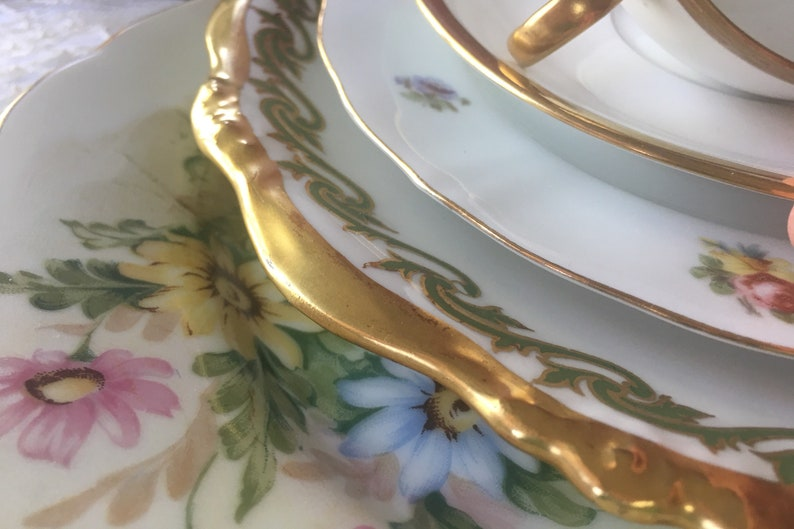 Stunning Antique China Mismatched Place Setting 5 pieces Wedding China Bridal Tea Party