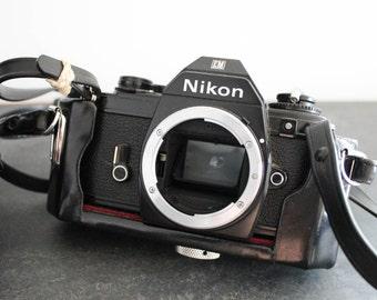 Nikon EM Vintage 35mm Film Camera w/ Original Leather Case