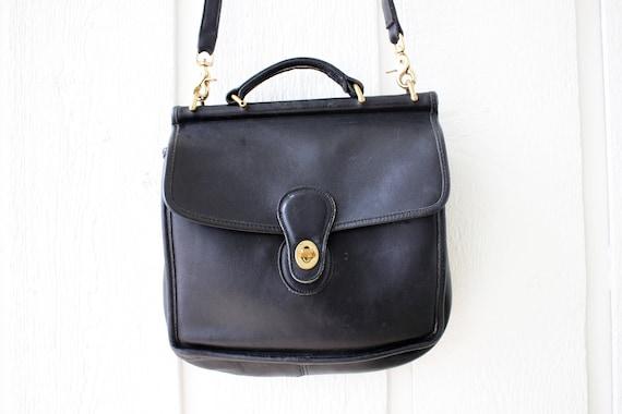 a4d1368dcdad Vintage Coach black leather Messenger bag Willis Coach