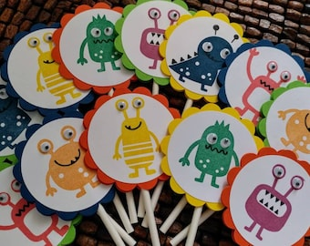 Monsters Cupcake Toppers - Set of 12-