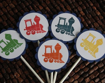 Train Birthday Party Cupcake Toppers - Choo Choo cupcake toppers - set of 12 - handmade