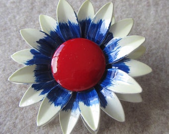 Vintage Germany white and blue painted flower brooch